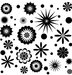 Set of Flowers Black and White vector image vector image