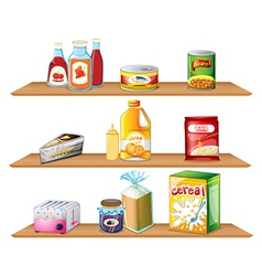 Three wooden shelves vector image
