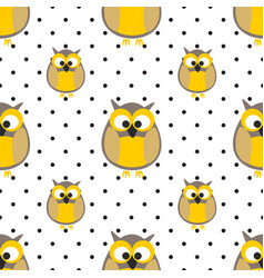 tile pattern with owls and dots on grey background vector image vector image