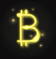 transparent neon bitcoin sign vector image