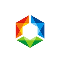 triangle colorful prism gem technology logo vector image