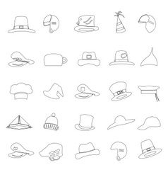 various black hats outline icons set eps10 vector image vector image