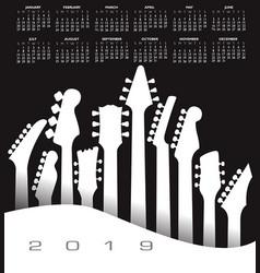 2019 musical calendar vector image