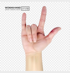 3d female hand shows rock realistic vector image