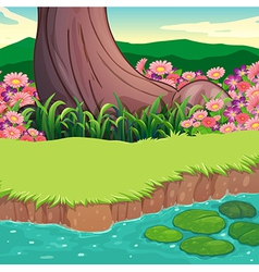 A scenery at the riverbank vector