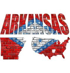 Arkansas on a brick wall vector