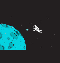 astronaut and mini asteroid vector image