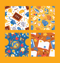 back to school supplies seamless pattern vector image