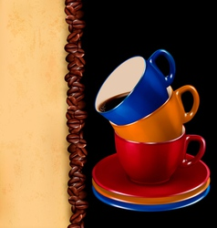 Background with colorful cups coffee and old vector