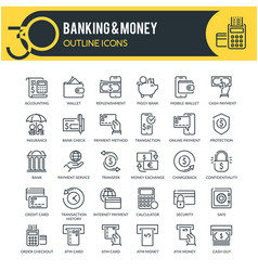 banking and money outline icons vector image