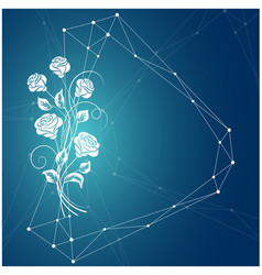 beautiful bouquet white rose on blue background vector image
