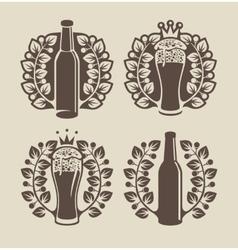 Beer glasses bottle and laurel wreath vector