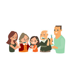 Big family brushing their teeth together vector