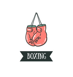 boxing gloves on a nail with ribbon - boxing vector image