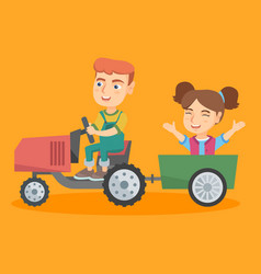 Boy driving a tractor with his friend in trailer vector