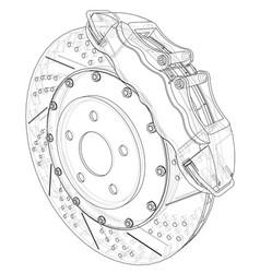 Brake disc outline rendering of 3d vector