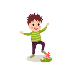 bully kid playing on green lawn and treading vector image
