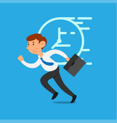 businessman race running with time vector image