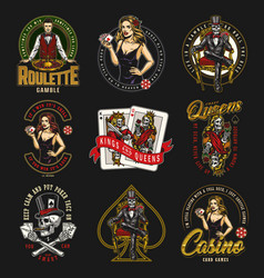 Casino and gambling vintage colorful badges vector