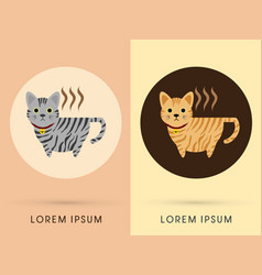 Cat cafe cup vector