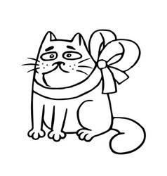 cat with a bow-knot sitting angry vector image