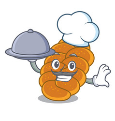 Chef with food challah mascot cartoon style vector
