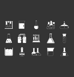chemical pots icon set grey vector image
