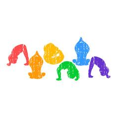 Children doing yoga different vector