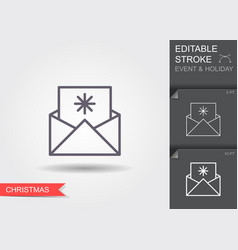 christmas and new year greetings line icon with vector image
