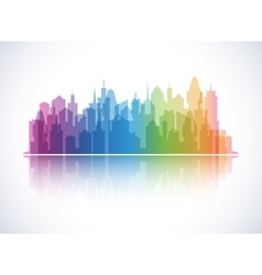 Cityscape colorful background skyline silhouette vector
