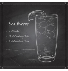 Cocktail Sea Breeze on black board vector