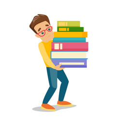 college student carrying a heavy pile of books vector image