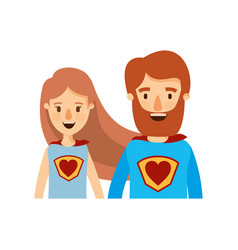 Colorful caricature half body couple female and vector
