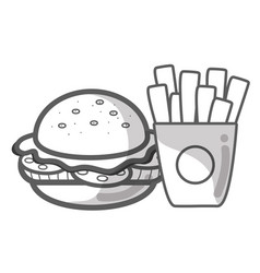 contour hamburger and fries french food icon vector image