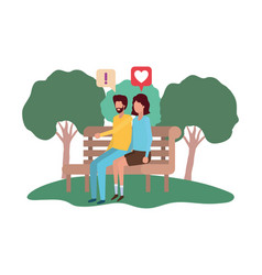 couple sitting on park chair with speech bubbles vector image