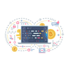 crypto currency and block chain vector image