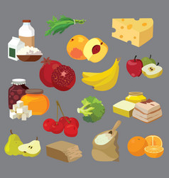 Dairy products fats sweets fruits vegetables vector