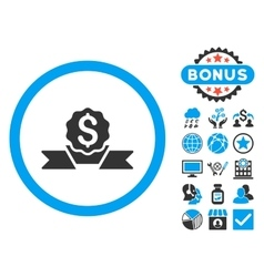 Dollar Award Flat Icon with Bonus vector image