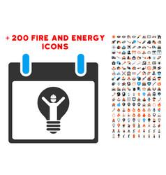 electrician calendar day icon with bonus power vector image
