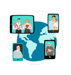 Family video chat global network communication vector