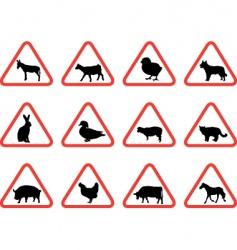 farm animals warning signs vector image