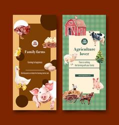 Farmer flyer design with cow chicken pig duck vector