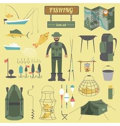 Fishing equipment icon set vector image