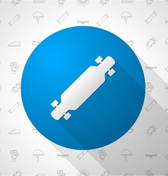 Flat circle icon for longboard vector