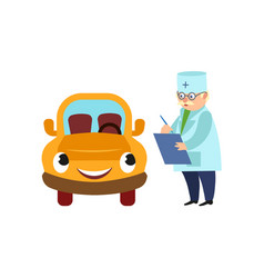 flat doctor with clipboard car with eyes vector image