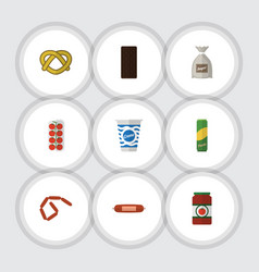 Flat icon meal set of kielbasa spaghetti vector
