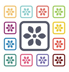 flower flat icons set vector image