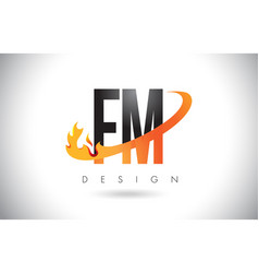 Fm f m letter logo with fire flames design and vector