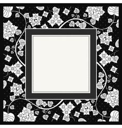 frame of flower on black background vector image