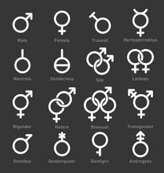 Gender icons set on dark background vector
